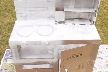 Kinderküche aus Karton basteln selbermachen Spielküche Holz Kinder