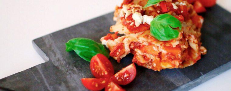 Kochen für Kinder: vegetarische Lasagne mit Kürbis und Feta
