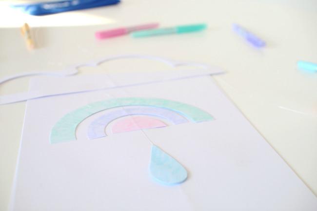 Mobile für das Kinderzimmer basteln Pastellfarben