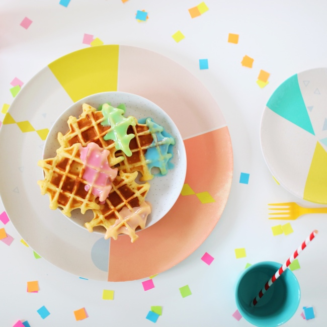 Color dipped waffle recipe easy bunte Waffeln Rezept