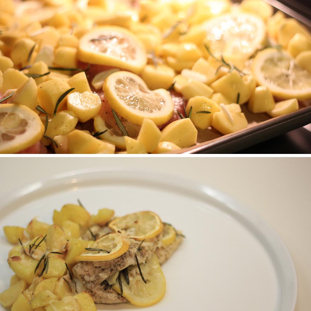 Zitronenhähnchen mit Parmesan-Kartoffeln