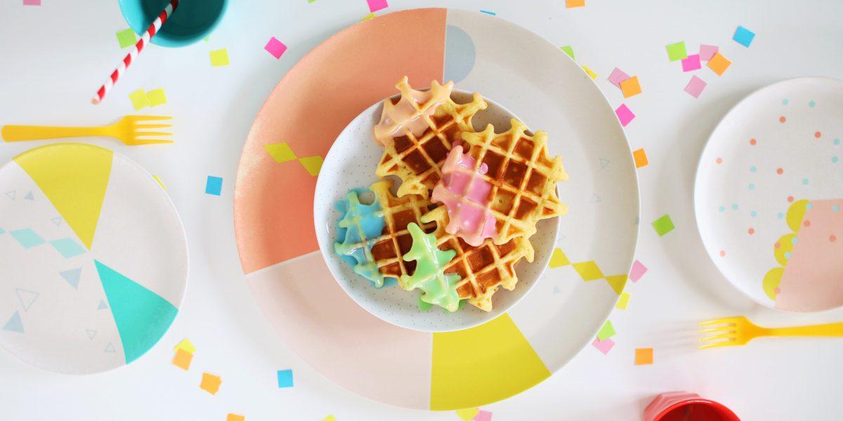 Bunte Waffeln Regenbogenwaffeln Rainbow waffles Rezept schnell und einfach