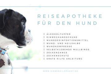 Reiseapotheke Hunde Checkliste was muss drin sein Urlaub mit Hund freebie
