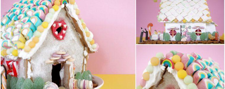 Lebkuchenhaus dekorieren Regenbogen pastell