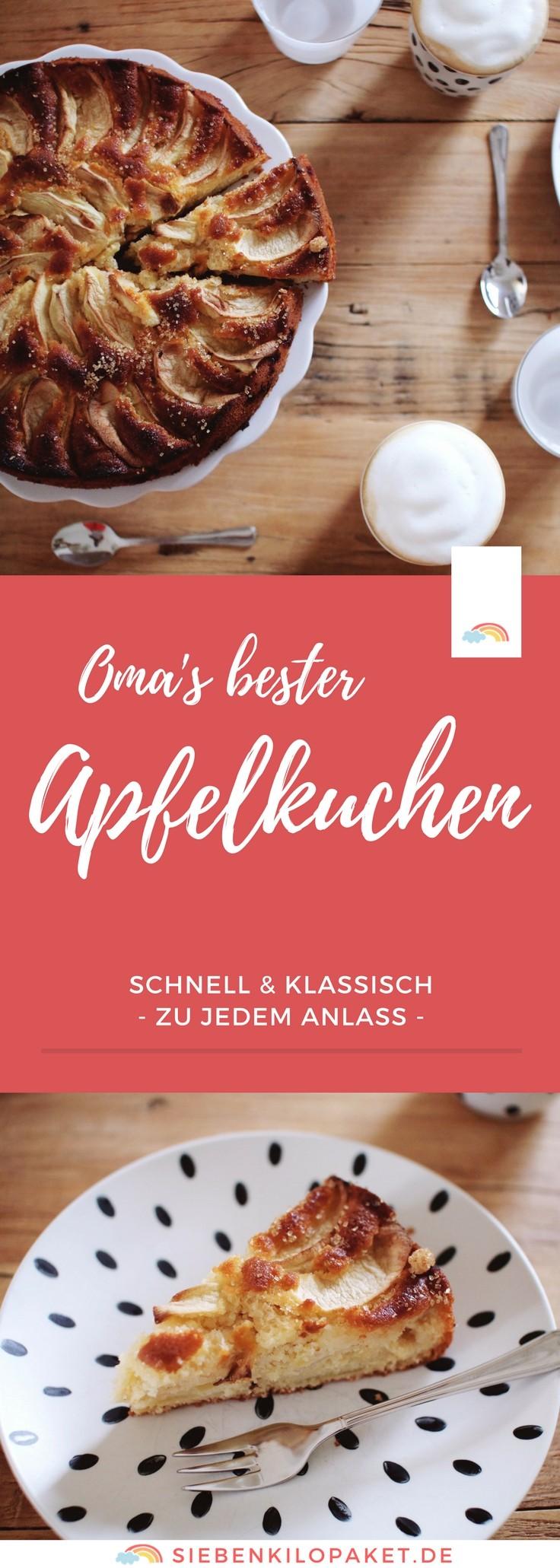 Omas Apfelkuchen: ein Rezept zum Verlieben! Schnell und einfach gemacht - passend zu jedem Anlass! #Apfelkuchen #Rezept #Backen #Kuchen