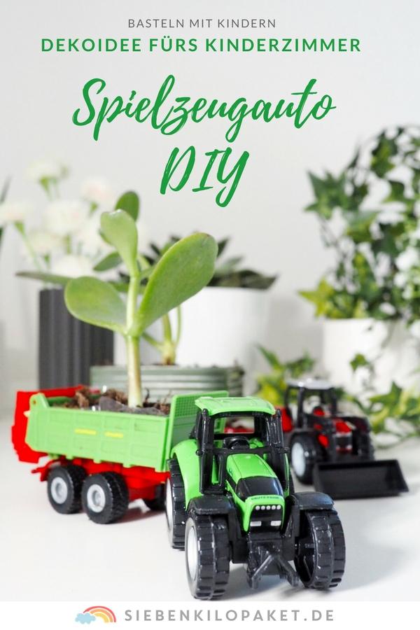 Basteln mit Spielzeugautos - Dekoidee fürs Kinderzimmer - Gärtnern mit Kindern - #spielzeugauto #basteln #dekoidee #kinderzimmer #bastelnmitkindern