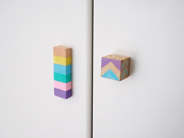Möbelknauf selber machen Bausteine DIY basteln mit Kindern