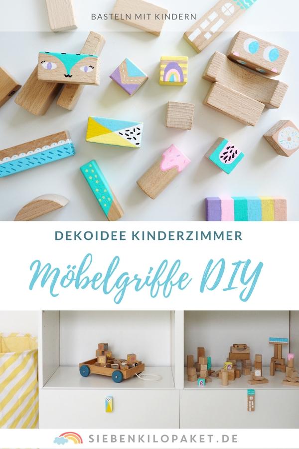 Möbelgriffe selber machen - eine schöne DIY Idee für das Kinderzimmer - Anleitung Bausteine bemalen Wandhaken #bauklötze #bausteine #möbelgriffe #wallhook #wandhaken