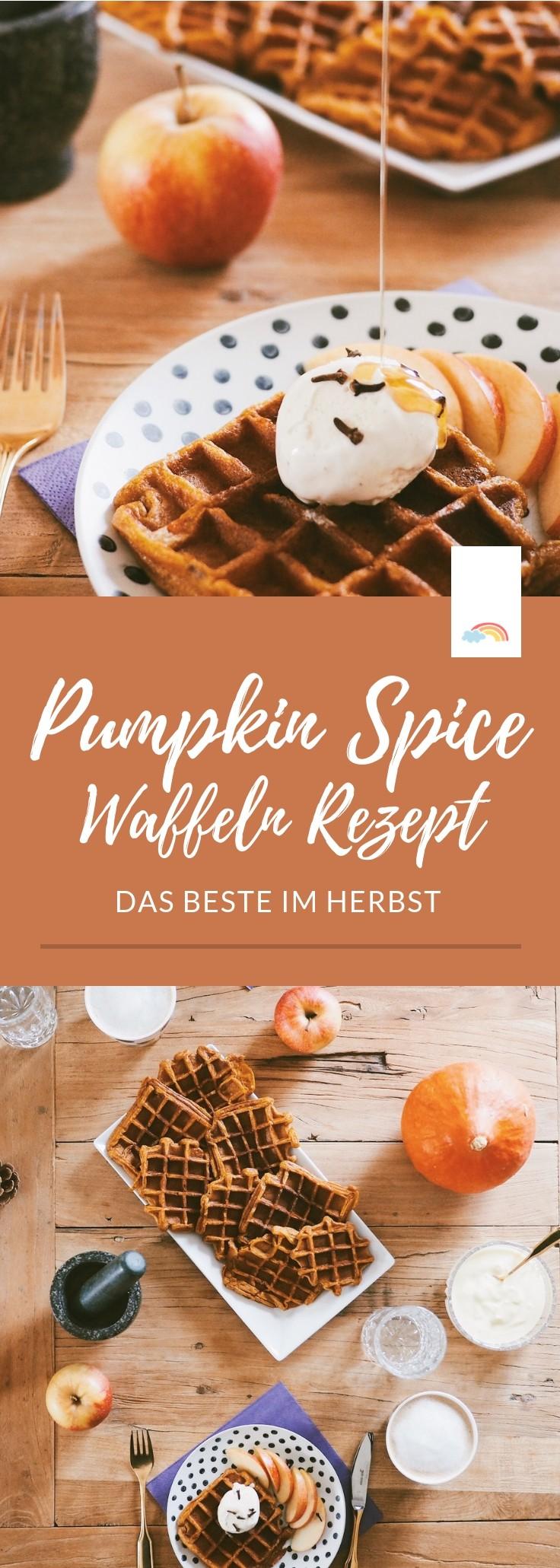 Pumpkin Spice Waffeln: das Highlight im Herbst - das perfekte Rezept mit Kürbis für das Herbstfrühstück! #herbst #kürbis #waffeln