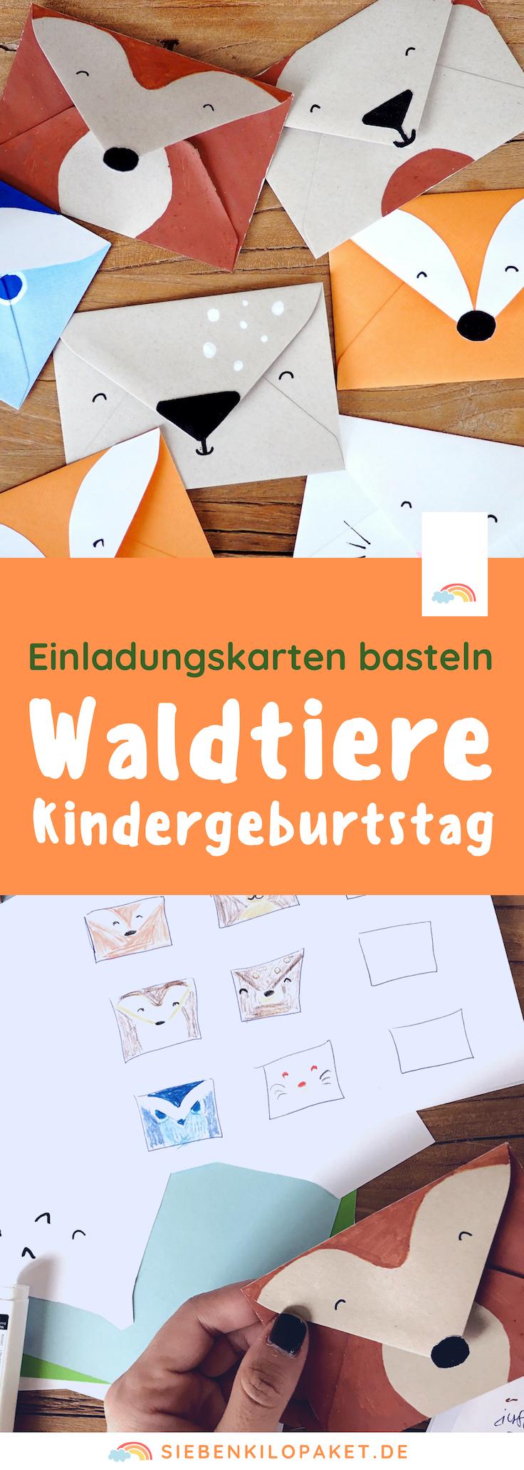 Einladung Kindergeburtstag basteln Waldtiere Mottoparty Woodland Kindergeburtstag 4 Jahre Bastelideen