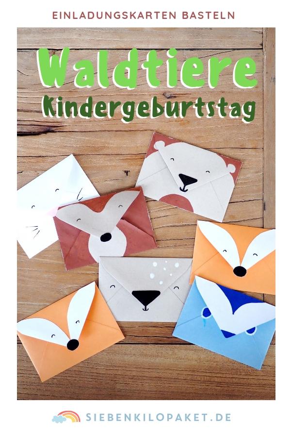 Einladung für den Kindergeburtstag basteln: Waldtiere Partymotto #waldtiere #einladung #kindergeburtstag #woodland