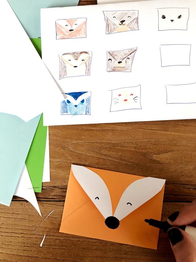 Waldtiere Einladungskarte Kindergeburtstag Umschlag basteln