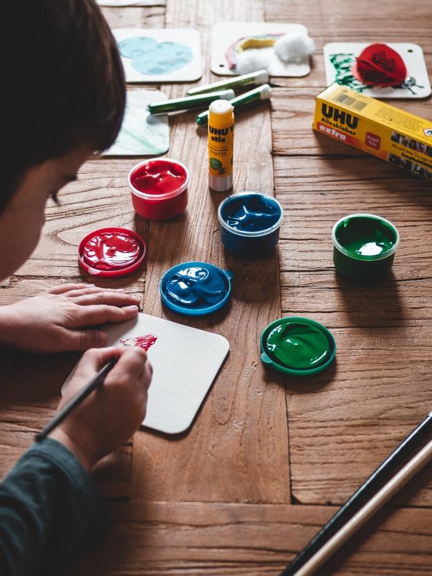 Blumen malen mit Kindern Bastelidee